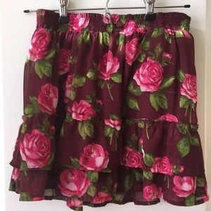 Abercrombie & Fitch Maroon Floral Skirt